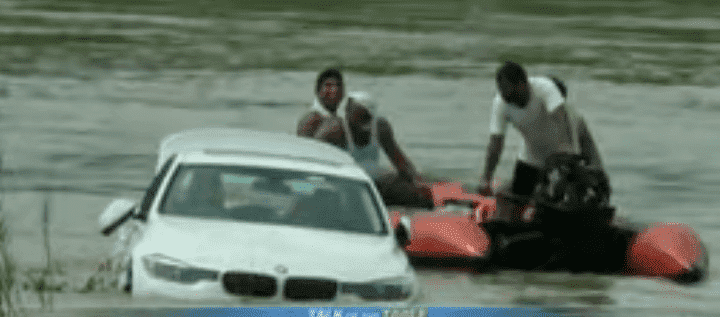 The BMW 3 series that was allegedly pushed into the river because it wasn't a Jaguar | Photo: YouTube/CBS This Morning