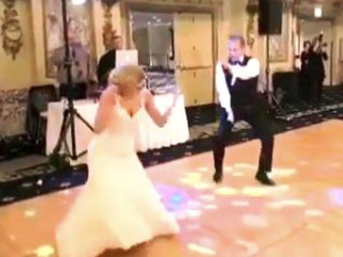 Still image from the incredible dance routine. I Image: Instagram/weddinggrid