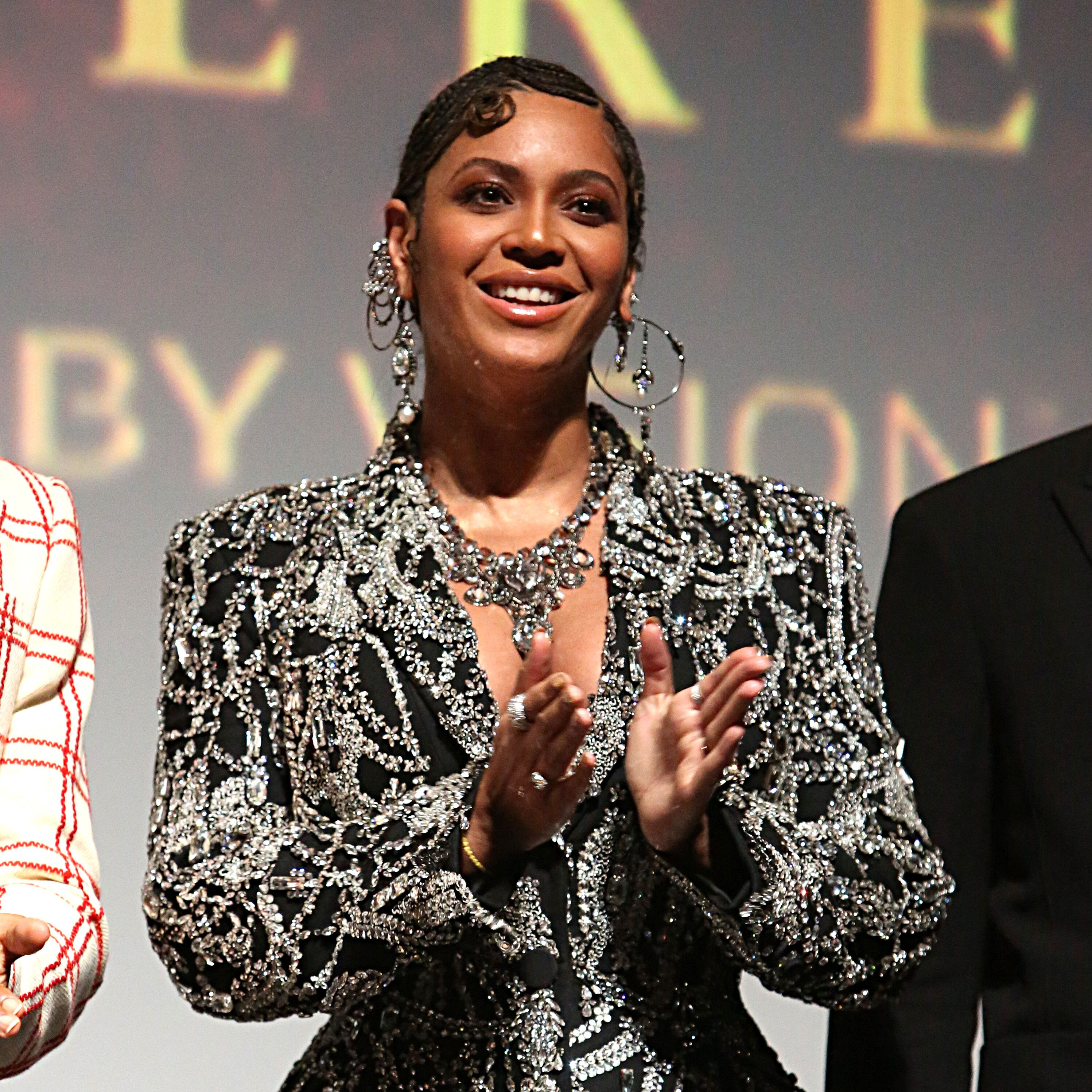 """Beyoncé Knowles in a Alexander McQueen beaded gown at the """"Lion King"""" premiere/ Source: Getty Images"""