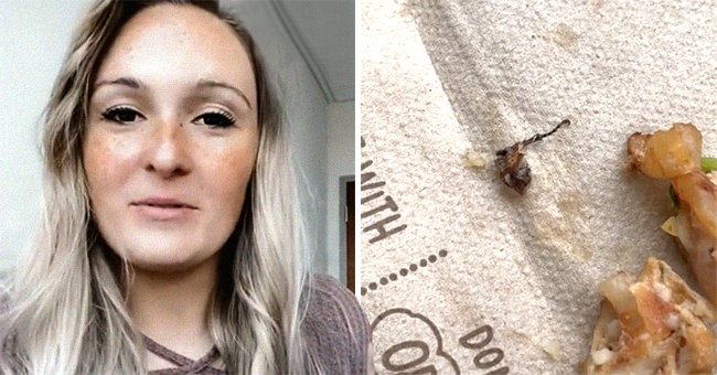 Woman claims she found a beetle in her Chipotle burrito and showed viewers the alleged insect leg   Photo: TikTok/toritalkspodcast
