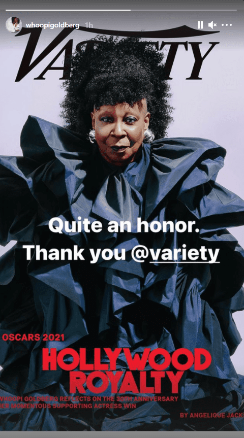 Whoopi Goldberg thanks Variety for her feature on the front cover of the magazine. | Photo: Instagram/whoopigoldberg