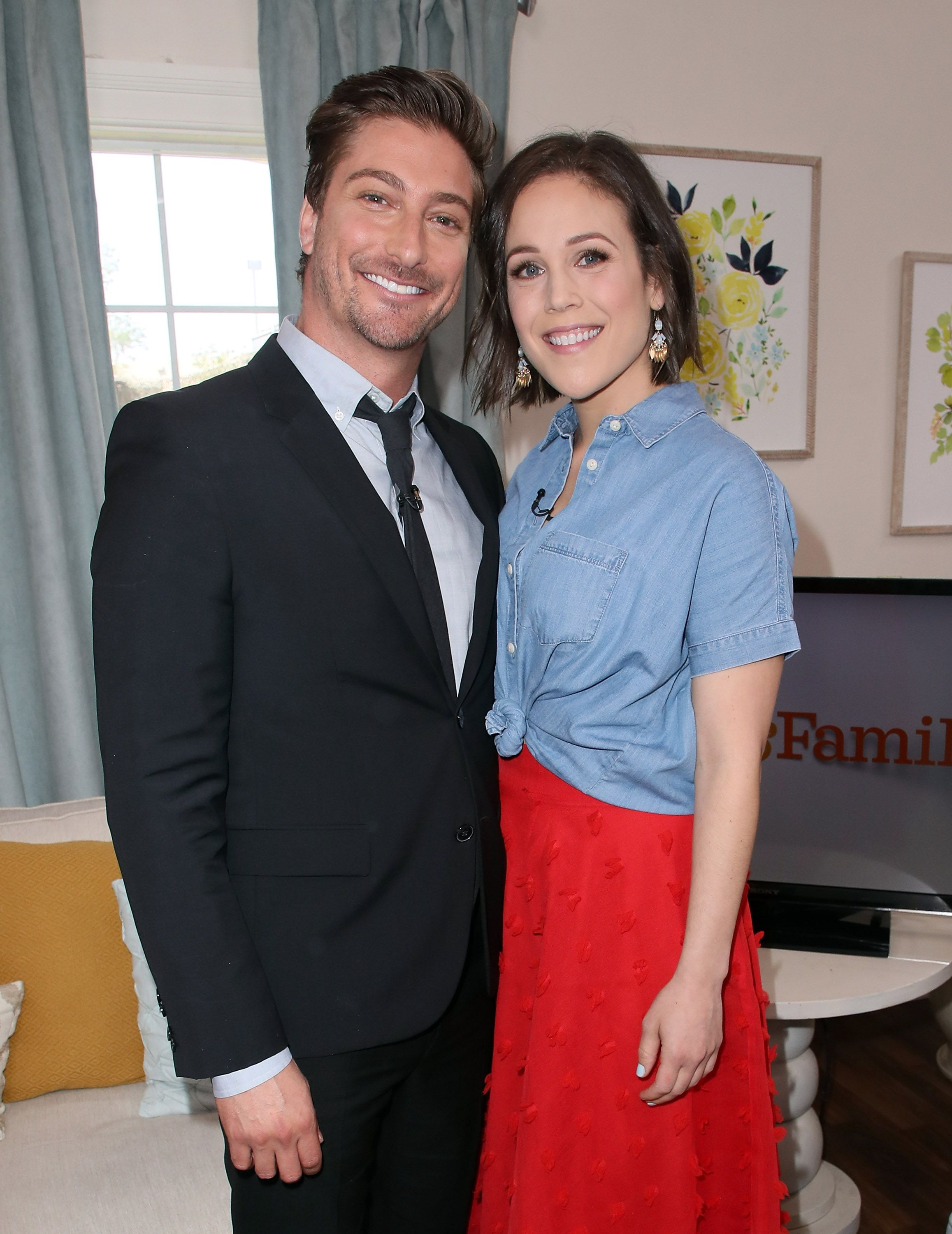 """Daniel Lissing and co-star from """"When Calls The Heart"""" Erin Krakow at Universal Studios Hollywood in April, 2018   Source: Getty Images"""