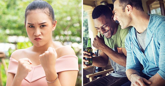 Picture of a woman showing her fists to the camera, and a picture of two men talking   Source: Shutterstock