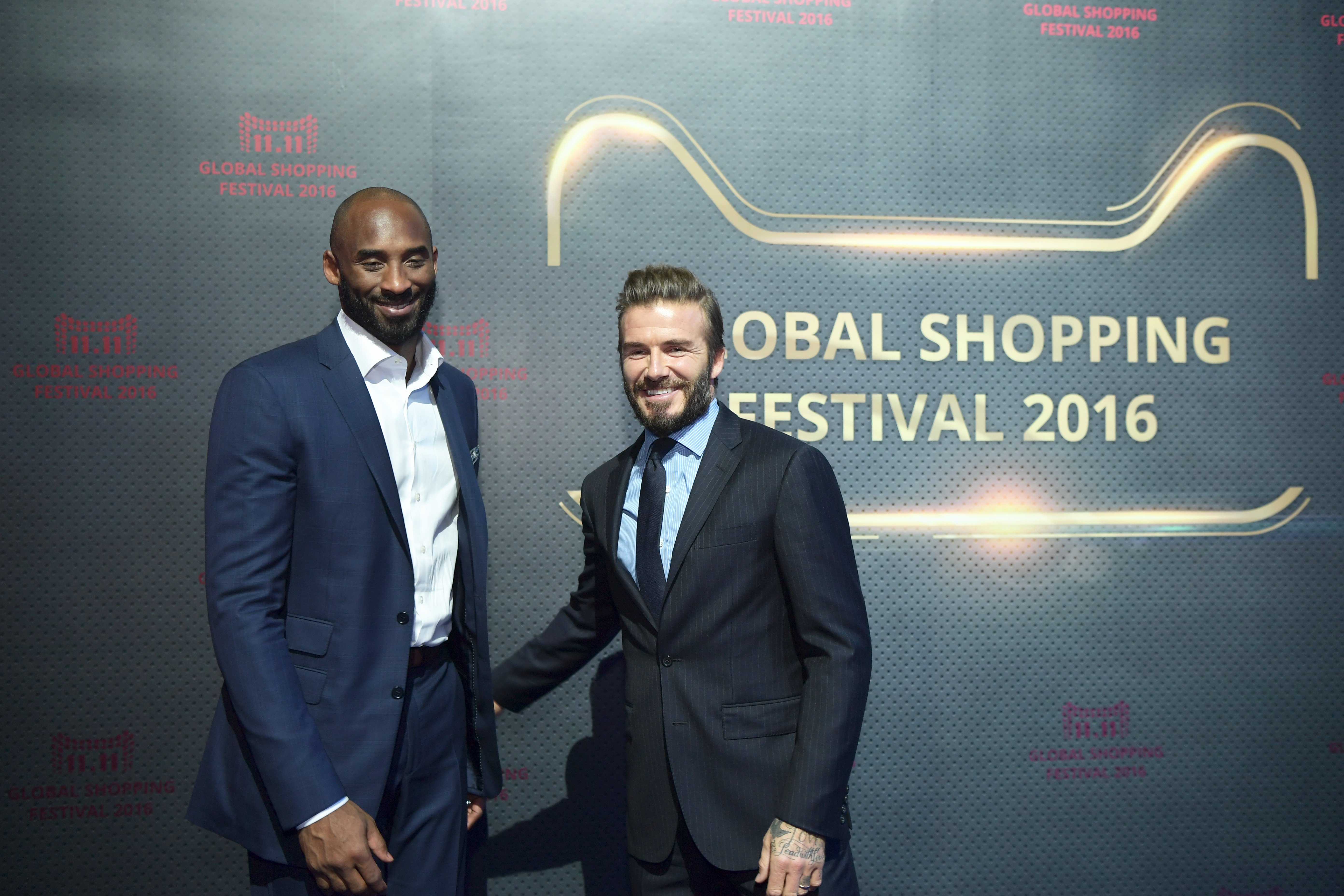 """Kobe Bryant and David Beckham were guests of the """"Gala of 11.11 Global Shopping Festival"""" in Shenzhen, November, 2016. 