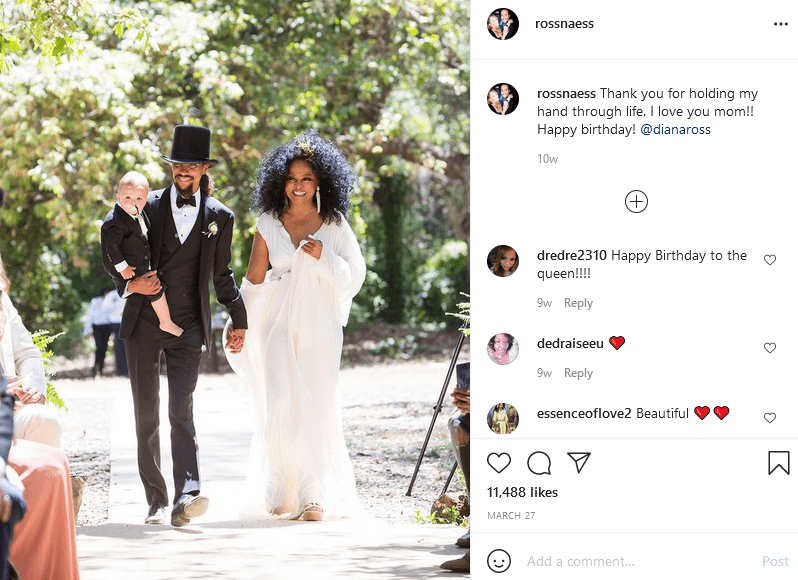 Ross Naess posts a picture of him and his mother, Diana Ross on Instagram | Photo: Instagram/rossnaess