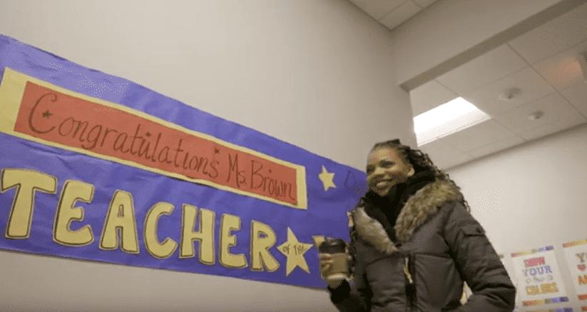 Lakeisha Brown, winner of the Washington DC's Teacher of the Year award.  Photo: YouTube/ DC EdFund.