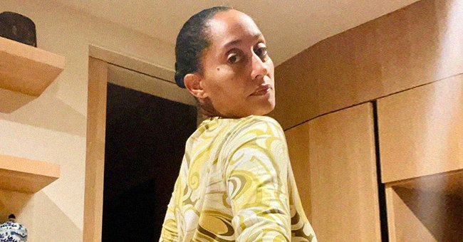 Tracee Ellis Ross Flaunts Backside & Cinched Waist in Fitting Yellow Dress in Makeup-Free Snap
