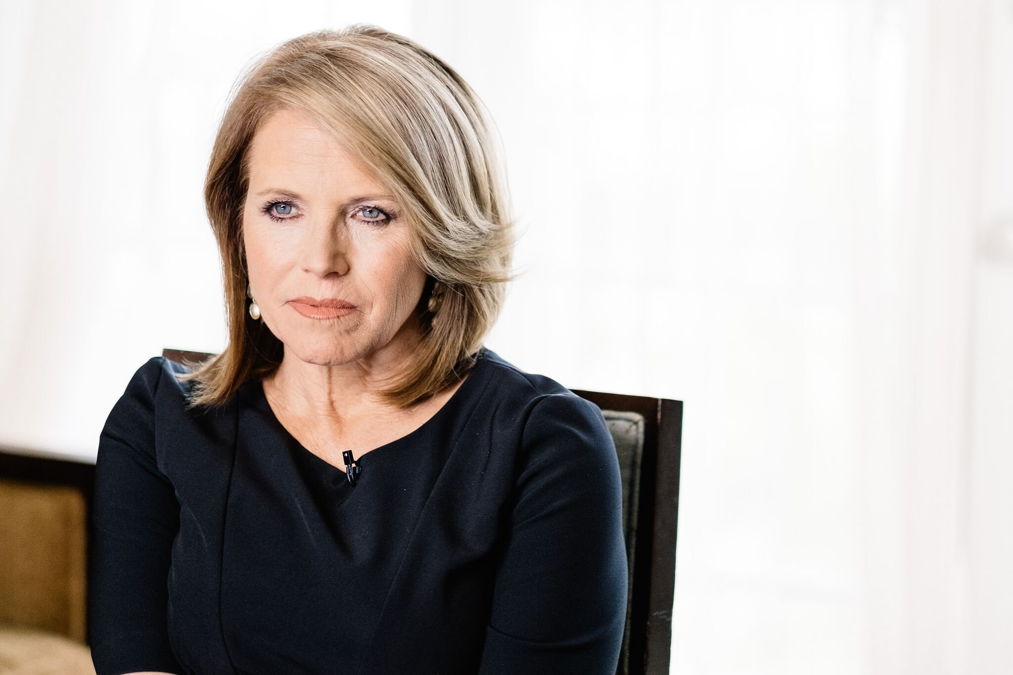 """Katie Couric speaks during an interview promoting the EPIX Original Documentary """"Under The Gun"""" 