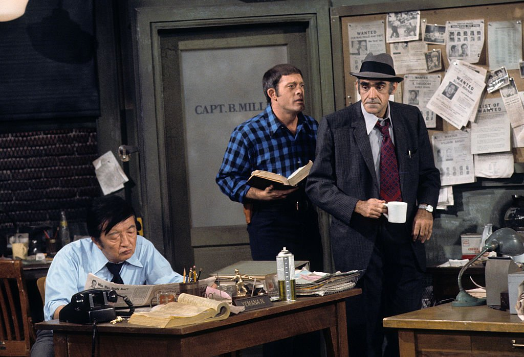 """Jack Soo, whose real name was Goro Suzuki, is seen on set with Max Gail and Abe Vigoda in the 1975 series """"Barney Miller."""" 