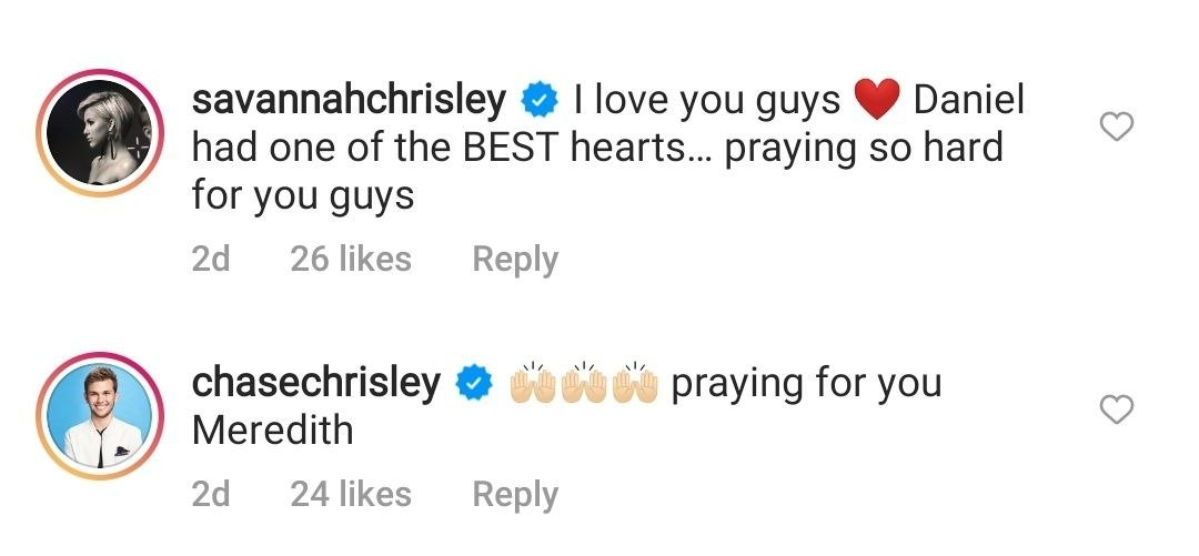 Savannah and Chase Chrisley's comment on Daniel Mickelson's death   Photo: Instagram/meredithmickelson