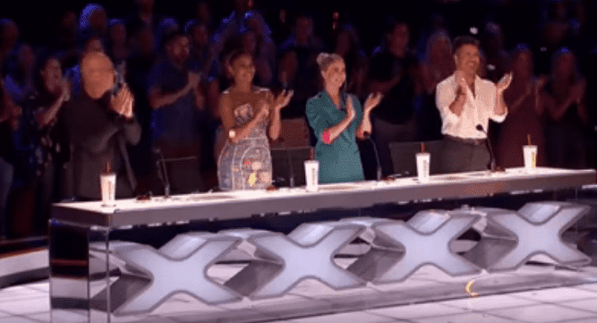"Susan Boyle receiving a standing ovation after her performance on ""America's Got Talent"" at the Dolby Theatre in Hollywood 