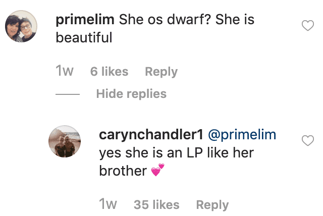 Caryn Chandler replies to a fan's comment on her post. | Source: Instagram/carynchandler1