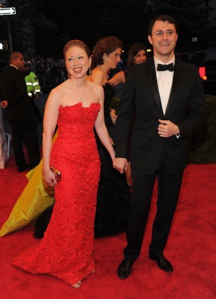 "Chelsea Clinton and Marc Mezvinsky attend the ""Schiaparelli And Prada: Impossible Conversations"" Costume Institute Gala at the Metropolitan Museum of Art on May 7, 2012, in New York City. 