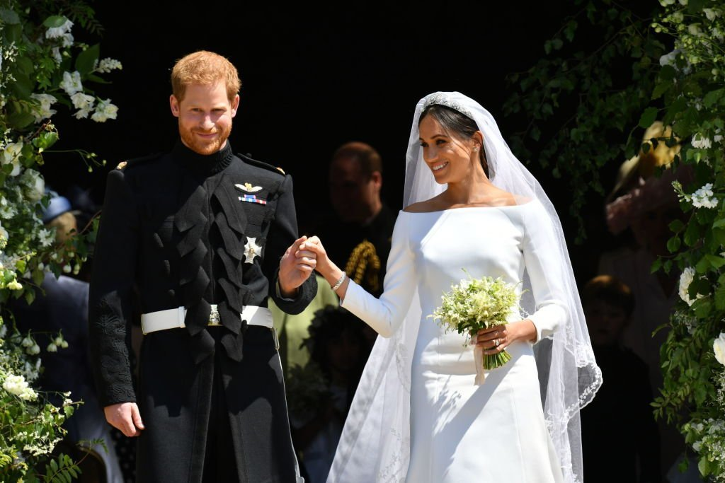 Prince Harry and Meghan Markle leave St George's Chapel after their wedding in St George's Chapel at Windsor Castle on May 19, 2018, in Windsor, England.   Source: Getty Images.