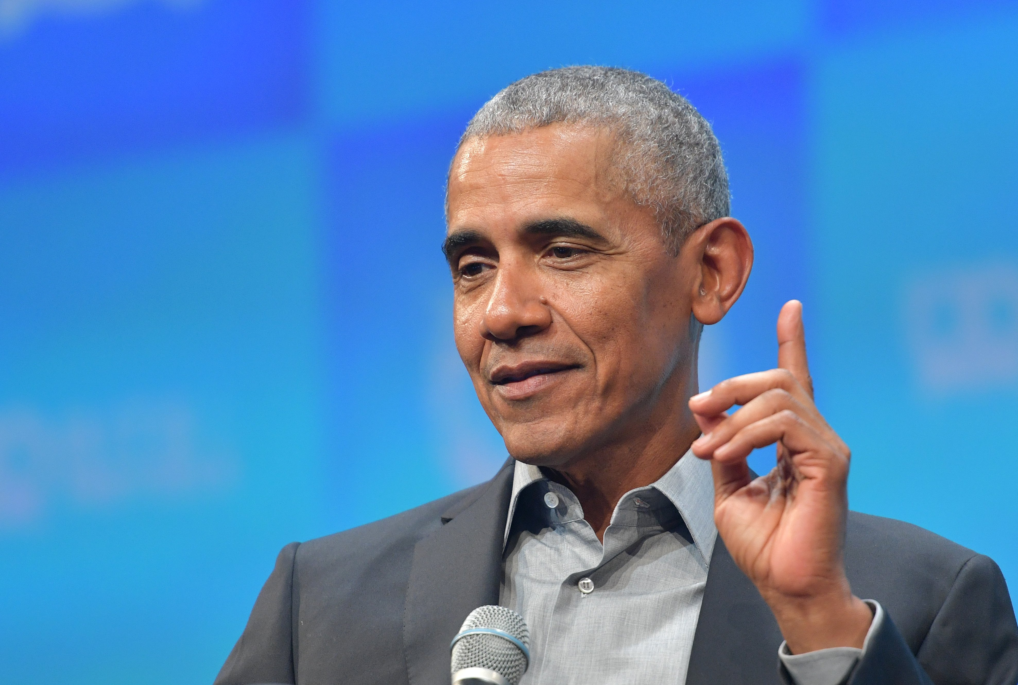 Barack Obama pictured speaking at the Bits & Pretzels meetup on September 29, 2019 in Munich, Germany. | Photo: Getty Images
