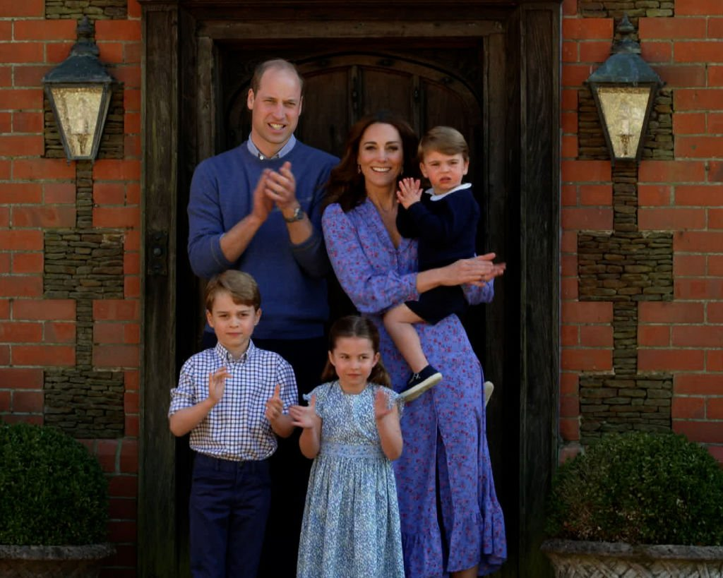 Prince William, Kate Middleton, Prince George, Princess Charlotte and Prince Louis clap for NHS carers as part of the BBC Children In Need and Comic Relief 'Big Night In at London on April 23, 2020 | Photo: Getty Images