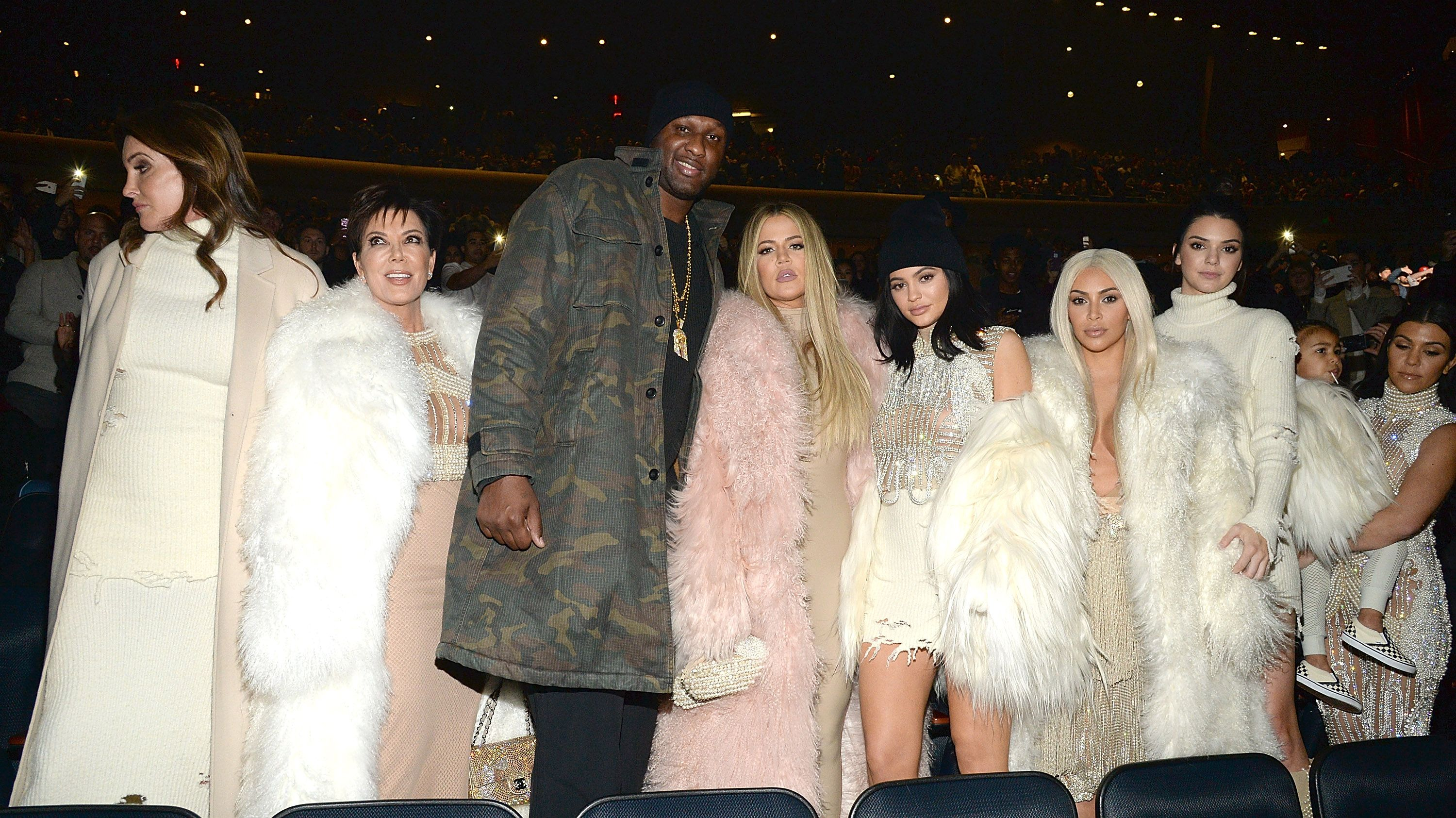 Lamar Odom and ex-wife Khloe and the Kardashian family at Kanye West Yeezy Season 3 at Madison Square Garden in 2016/ Source: Getty Images