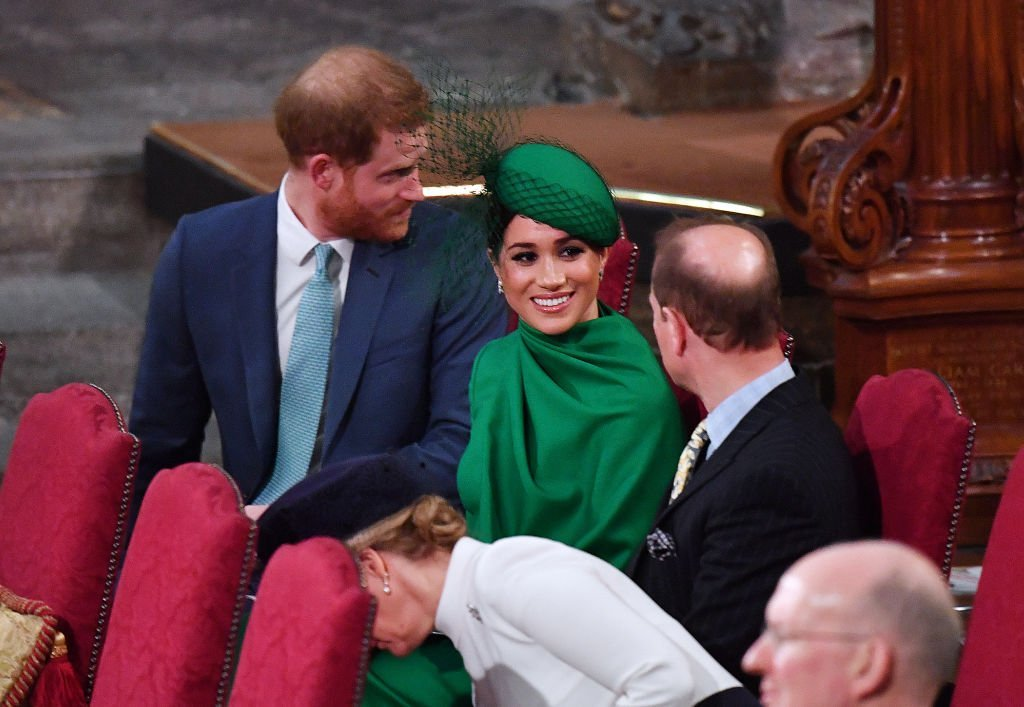 Prince Harry sit next to Meghan Markle as she enjoyed a chat with Prince Edward, who sat next to his wife Sophie, Countess of Wessex during the Commonwealth Day Service 2020 on March 9, 2020 in London, England | Source: Phil Harris - WPA Pool/Getty Images