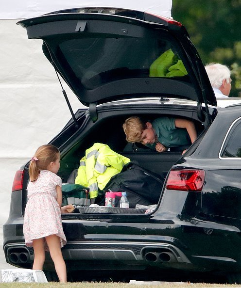 Prince George and Princess Charlotte at Billingbear Polo Club on July 10, 2019 in Wokingham, England   Photo: Getty Images