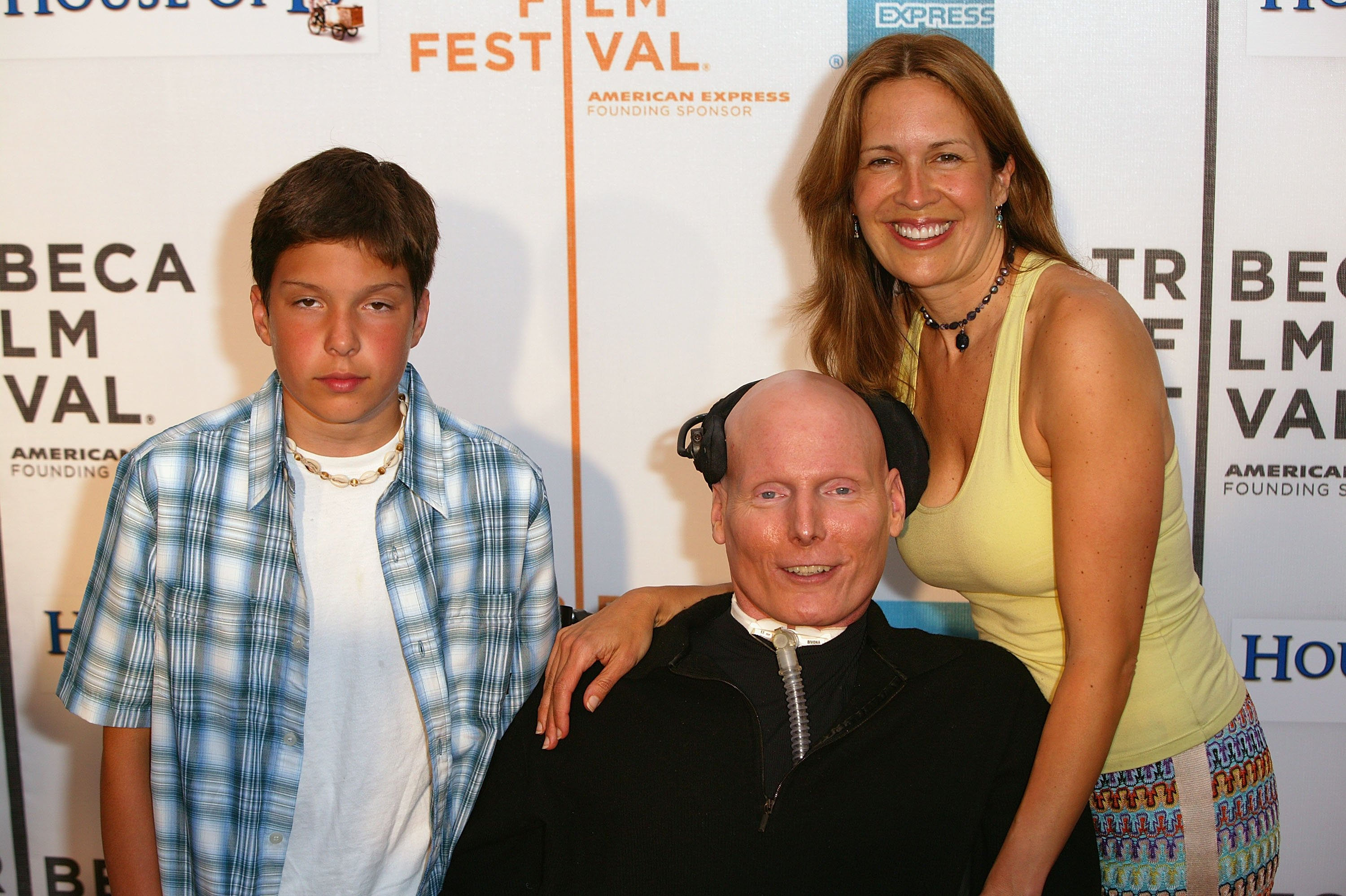 "Christopher Reeve with his wife Dana Reeve and son Will attend the screening of ""House of D"" in New York City in 2004 