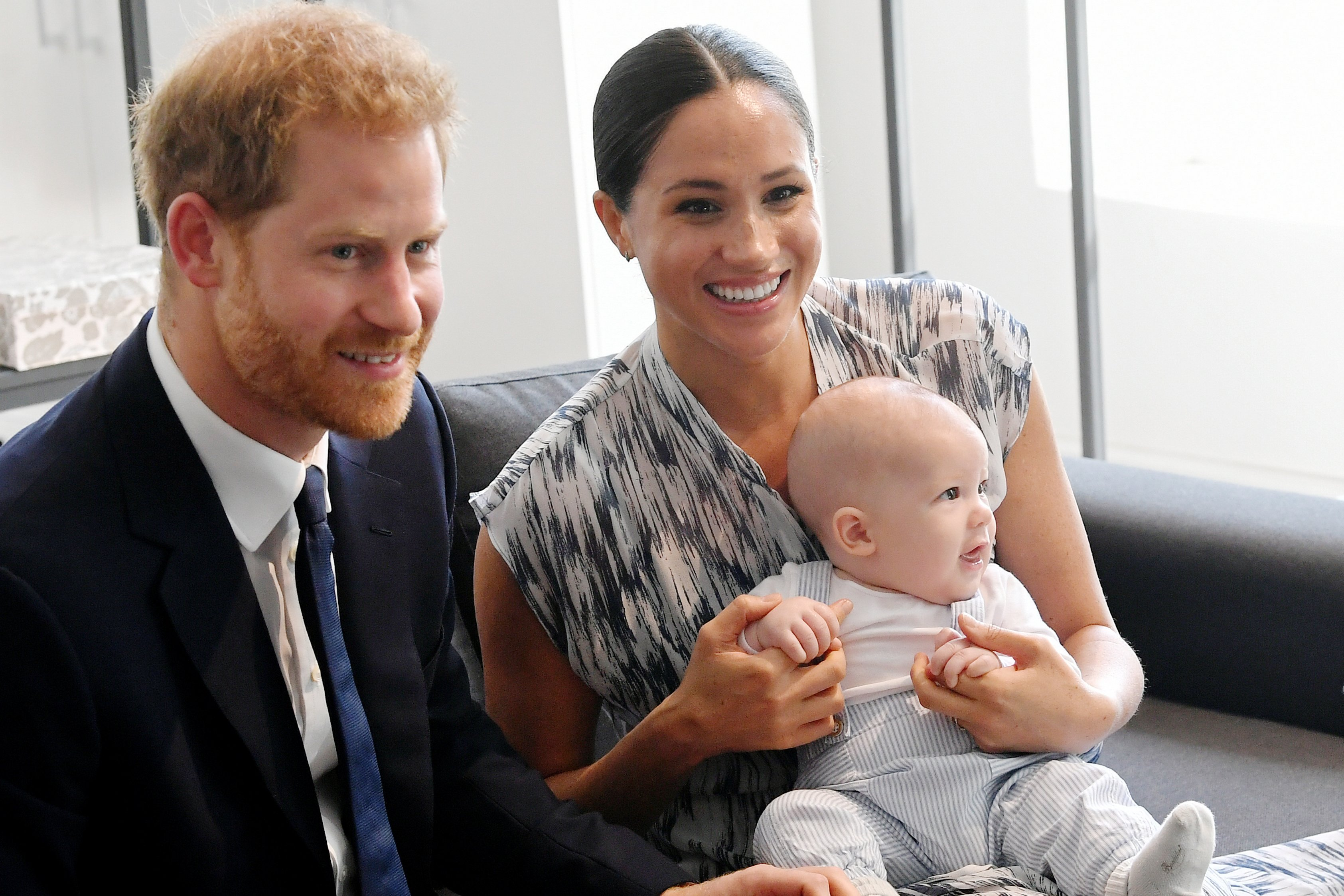 Prince Harry and Meghan Markle with son Archie Mountbatten-Windsor meeting with Archbishop Desmond Tutu in Cape Town, South Africa on September 25, 2019 | Photo: Getty Images