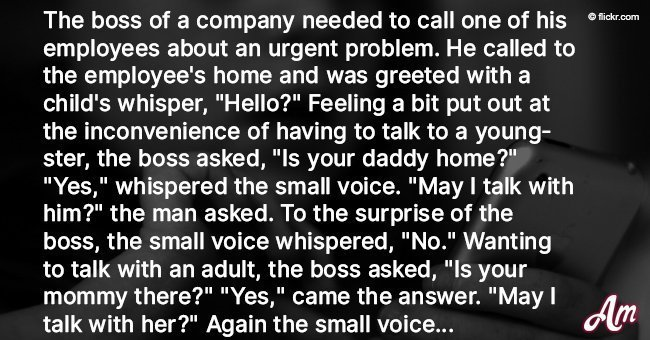 Boss calls employee's home and has a weird conversation