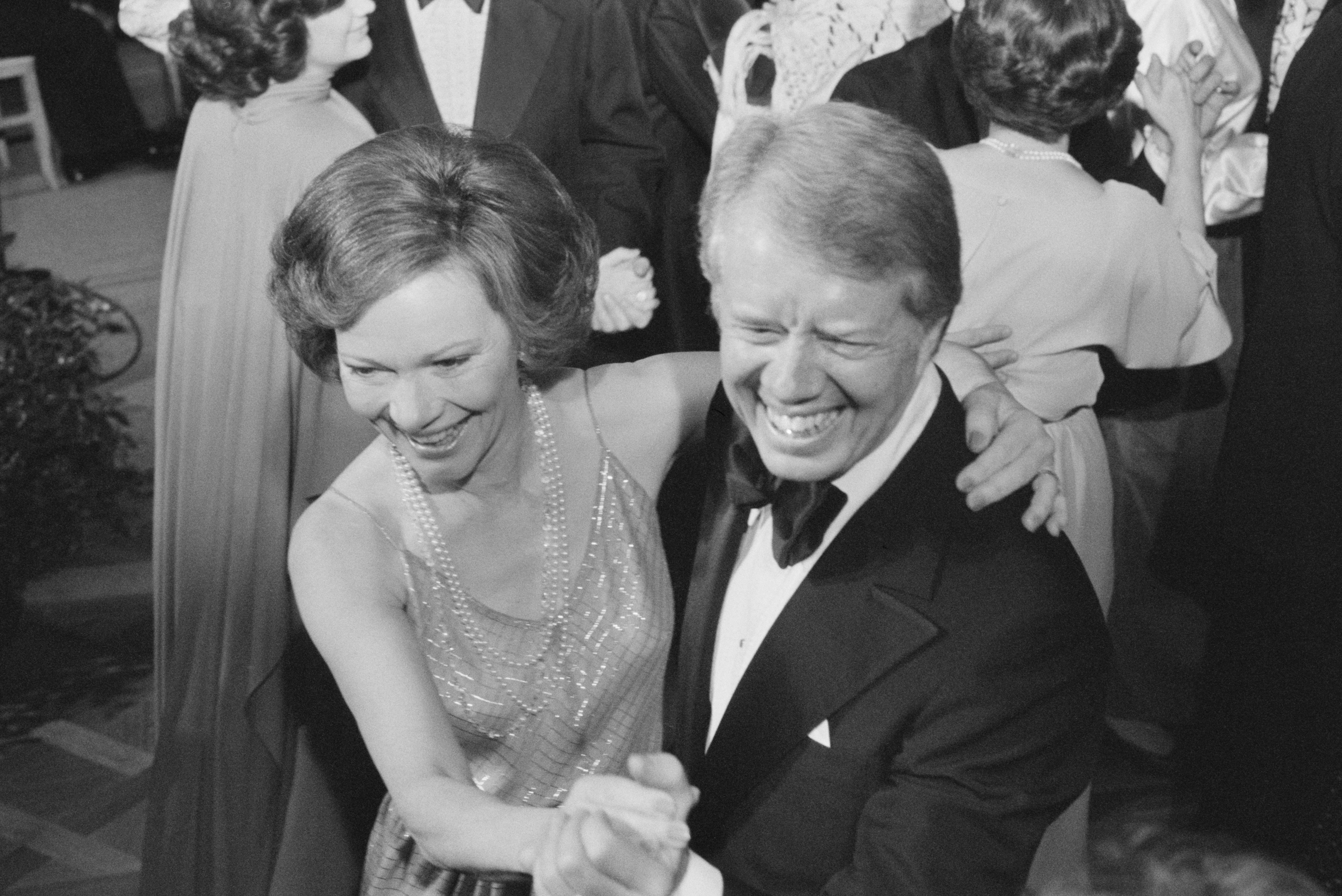 U.S. President Jimmy Carter and First Lady Rosalynn Carter dance at a White House Congressional Ball, Washington, D.C., USA, photograph by Marion S. Trikosko, December 13, 1978   Source: Getty Images