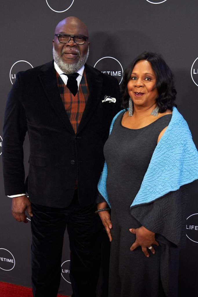 "Bishop T.D. Jakes and Serita Jakes pose for a photo during the premiere of ""Faith Under Fire: The Antoinette Tuff Story"" 