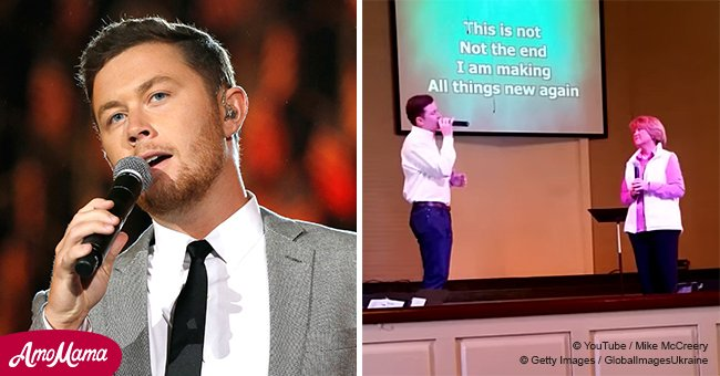 Young Scotty McCreery sings a powerful song about Jesus with his mom at church