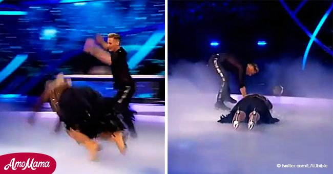TV figure falls on her face during 'Dancing on Ice,' leaving her in tears