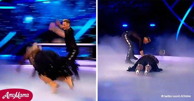 """Promi stürzt bei """"Dancing on Ice"""" schwer und kann Tränen nicht unterdrücken"""