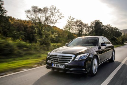 A Mercedes-Benz S-Class on the road. | Source: Shutterstock.