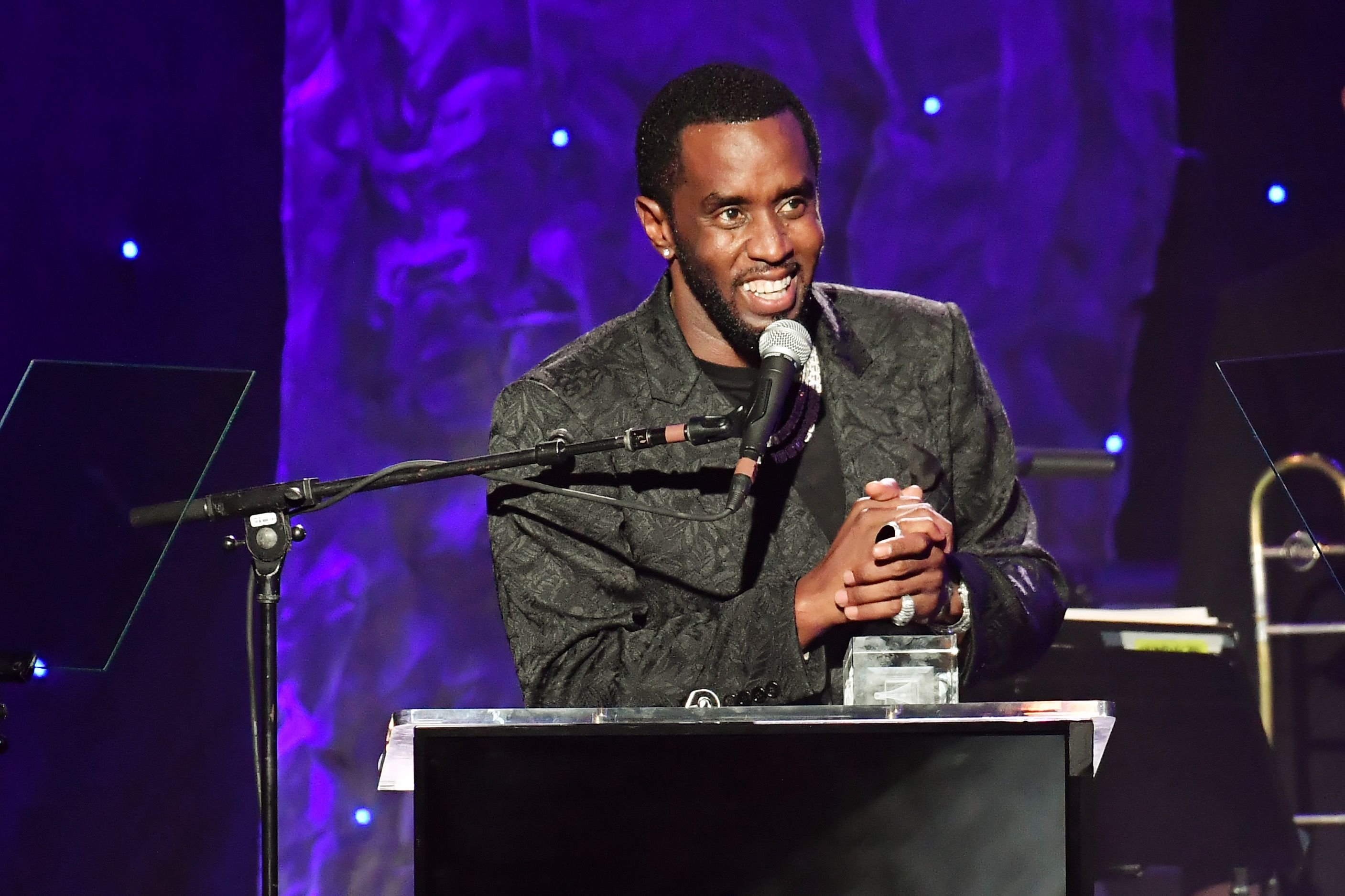 """Sean """"Diddy"""" Combs receiving the President's Merit Award at the Grammy Gala and Grammy Salute to Industry Icons on January 25, 2020 in Beverly Hills, California. 