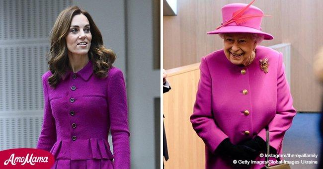 Kate Middleton zieht sich wie die Queen an und besucht die Oper in einem tiefroten Mantel
