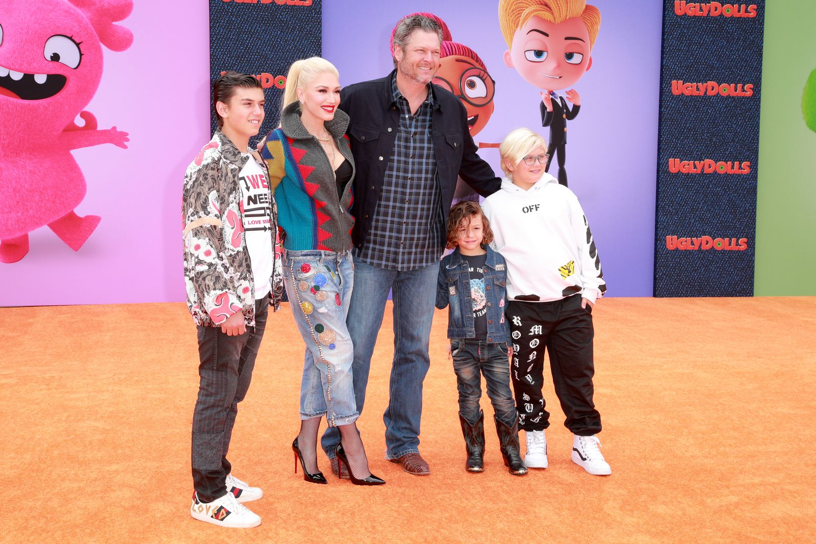 """Kingston Rossdale, Gwen Stefani, Blake Shelton, Apollo Bowie Flynn Rossdale, and Zuma Nesta Rock Rossdale at the World Premiere of """"UglyDolls"""" on April 27, 2019, in Los Angeles, California 