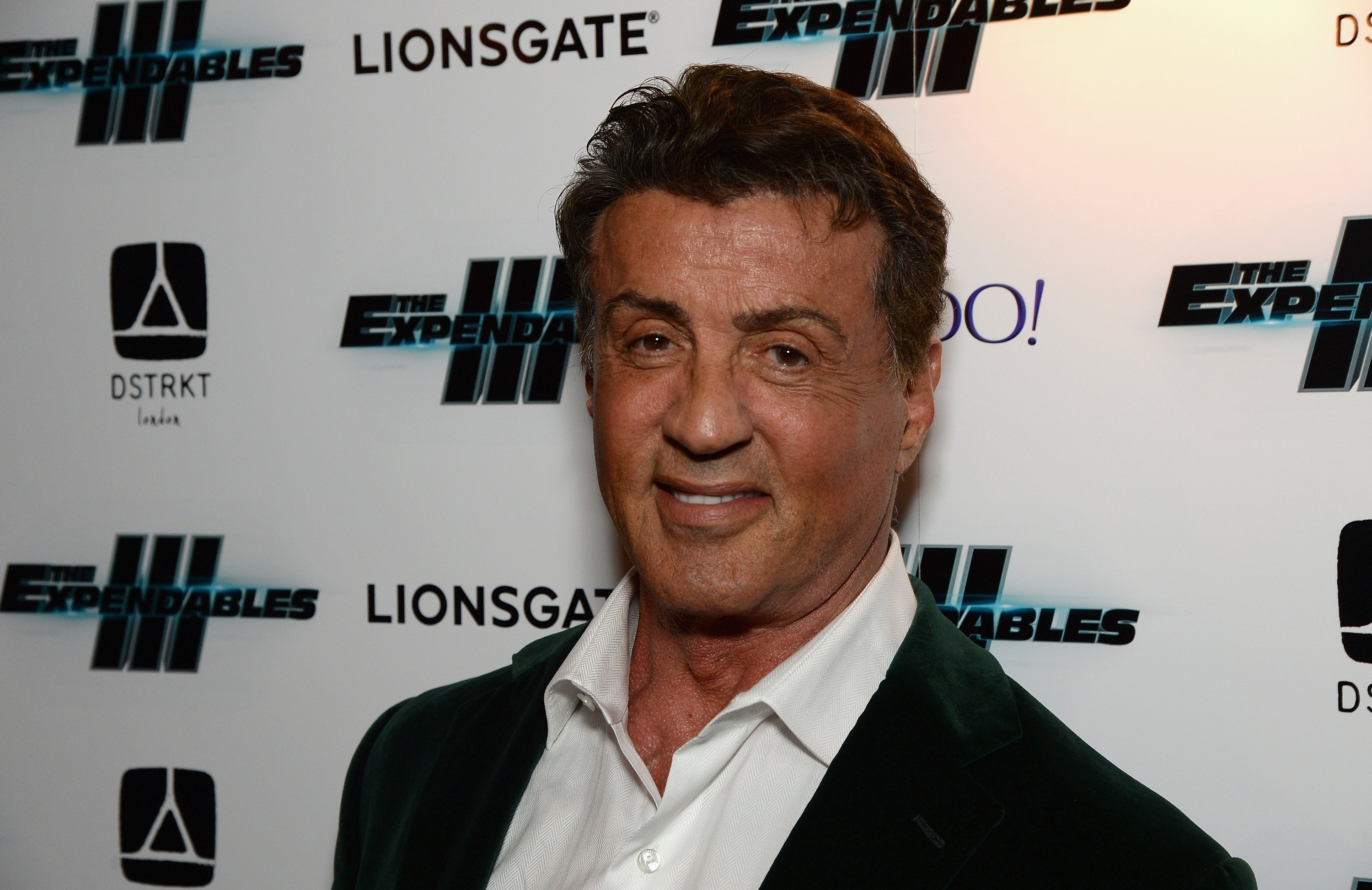 """Legendary actor Sylvester Stallone attends the 2014 premiere night of the movie """"Expendables III"""" in London. 