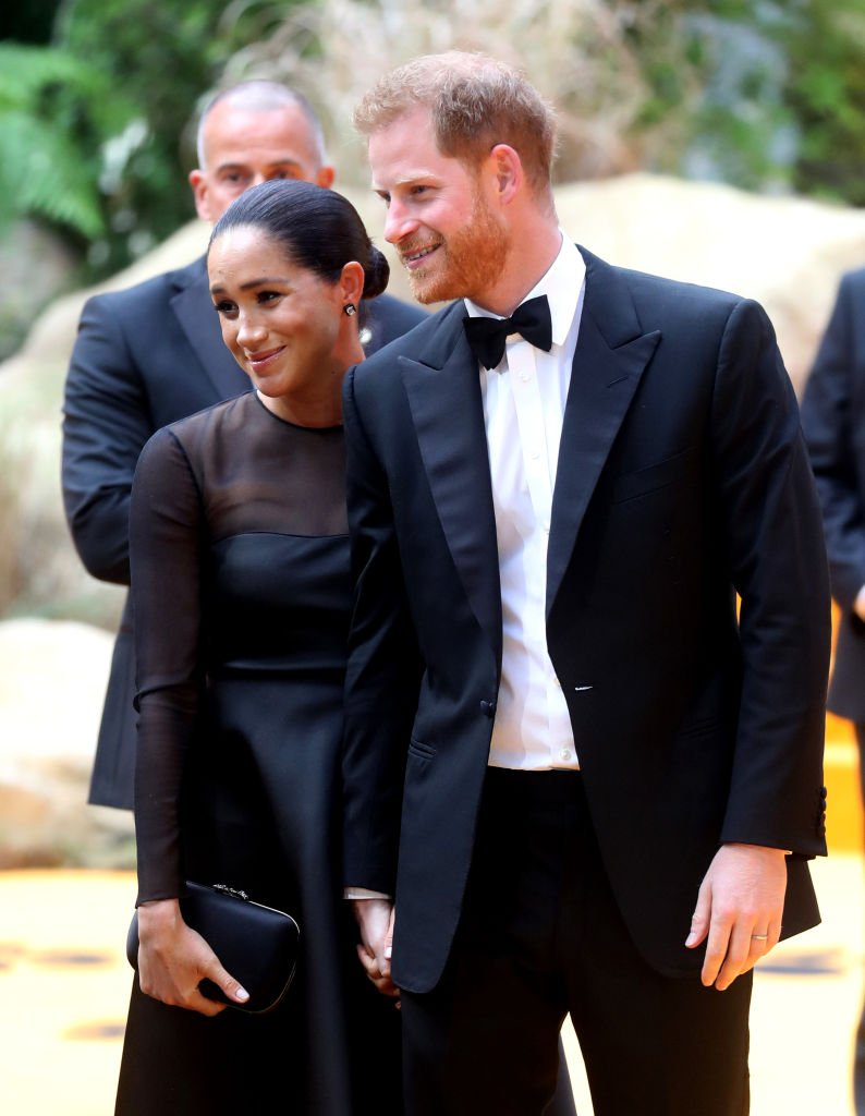 """Prince Harry and Meghan Markle pictured at """"The Lion King"""" European Premiere, 2019, London, England. 