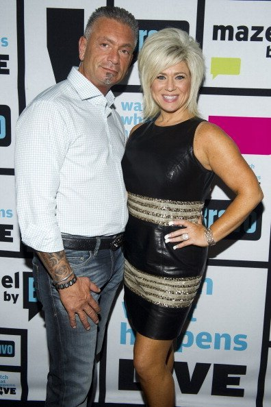 """Larry Caputo, and ex-wife Theresa Caputo during an appearance on """"Watch What Happens Live"""" with Andy Cohen 