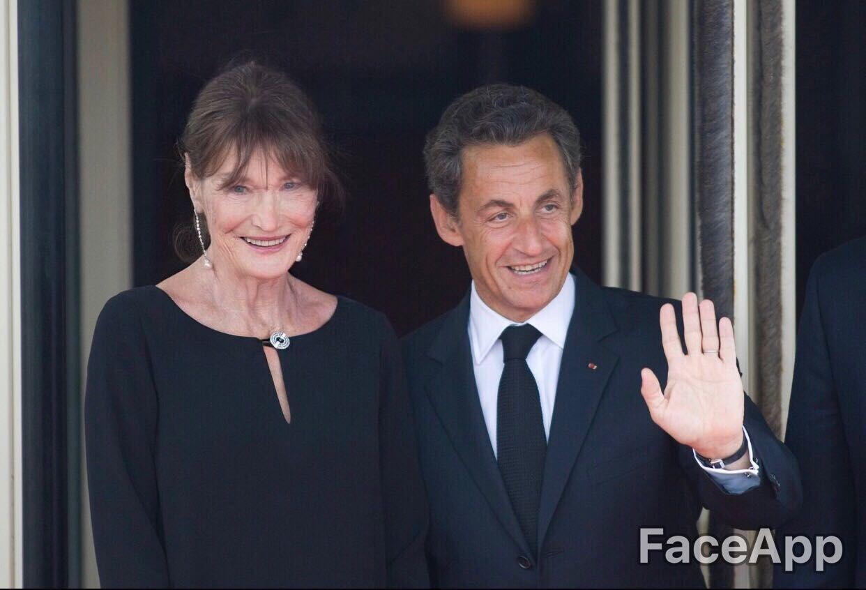 Photo de Nicolas Sarkozy et sa femme sur FaceApp