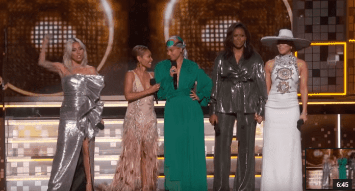 Lady Gaga, Jada Pinkett Smith, Alicia Keys, Michelle Obama and Jennifer Lopez on stage at the 61st Annual Grammy Awards on February 10, 2019, in Los Angeles, Source: YouTube/  Recording Academy / GRAMMYs