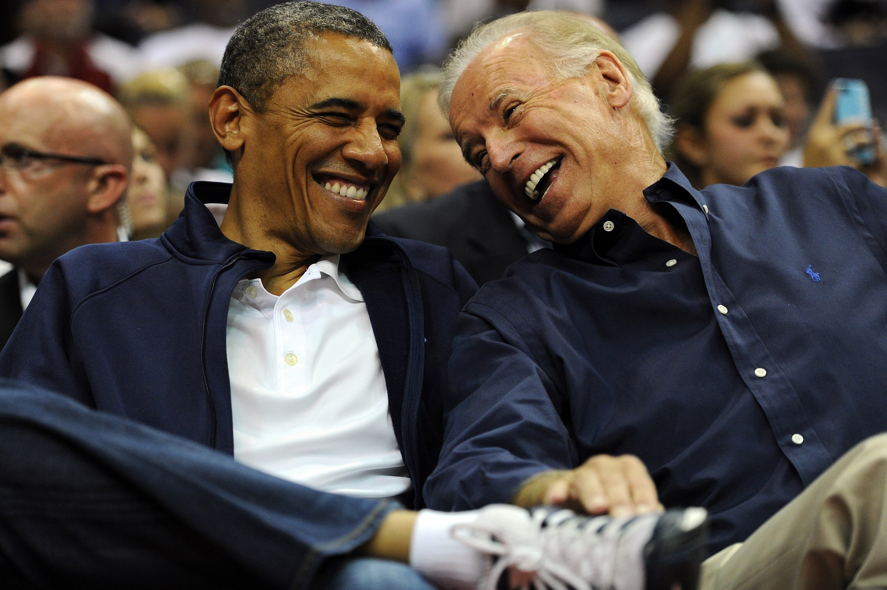 U.S. President Barack Obama and Vice President Joe Biden at the US Senior Men's National Team and Brazil play during a pre-Olympic exhibition basketball game on July 16, 2012 l Source: Getty Images