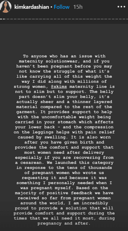 Kim Kardashian releasing a statement to address the criticism aimed at her SKIMS maternity shapewear collection on her Instagram Story | Photo: Instagram/kimkardashian