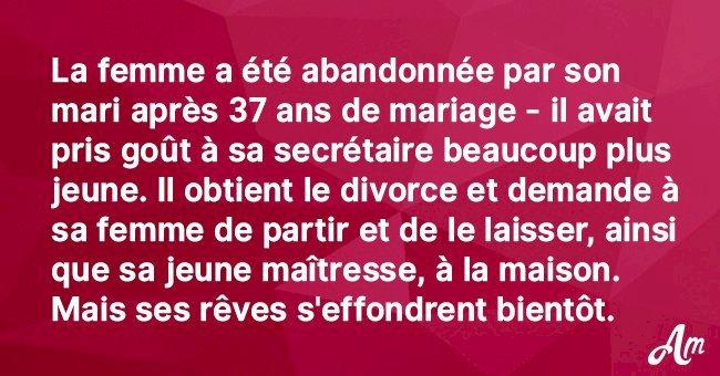 Ce mari quitte sa femme pour sa secrétaire après 37 ans de mariage