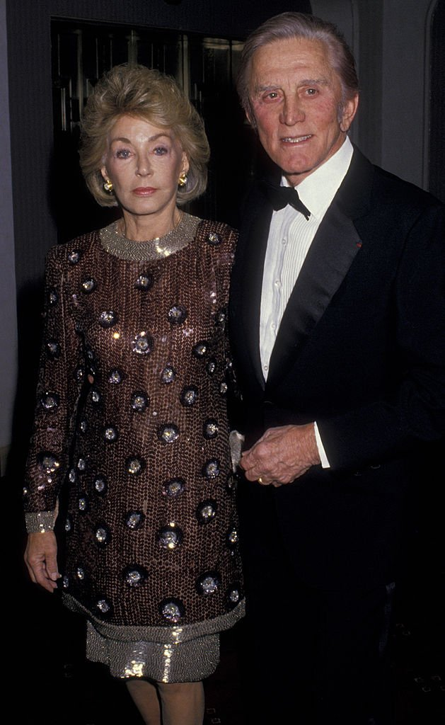Kirk Douglas and wife Anne Douglas attend Tribute Gala Honoring Jimmy Stewart on February 25, 1988, at the Waldorf Hotel in New York City. | Source: Getty Images.