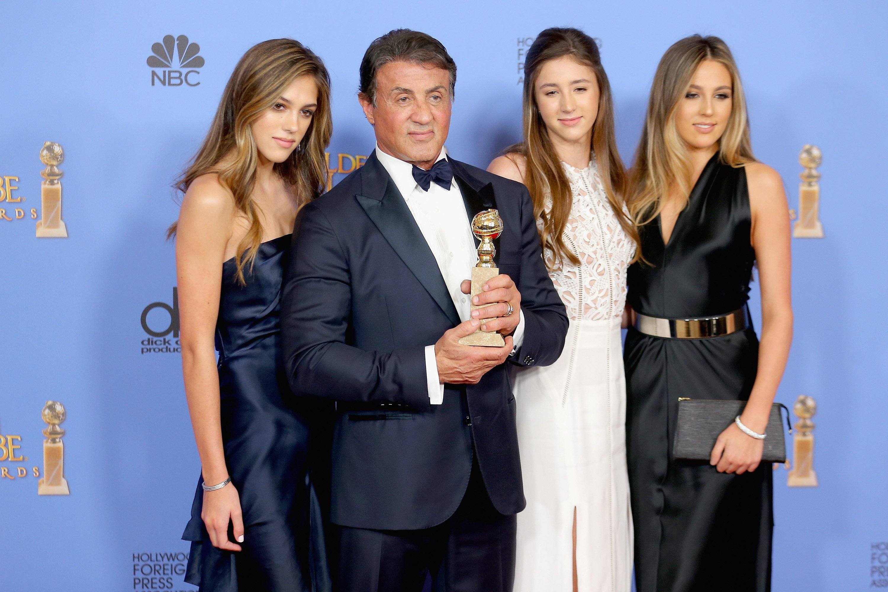 Sylvester Stallone and his three daughters Sophia, Sistine, and Scarlet. I Image: Getty Images.