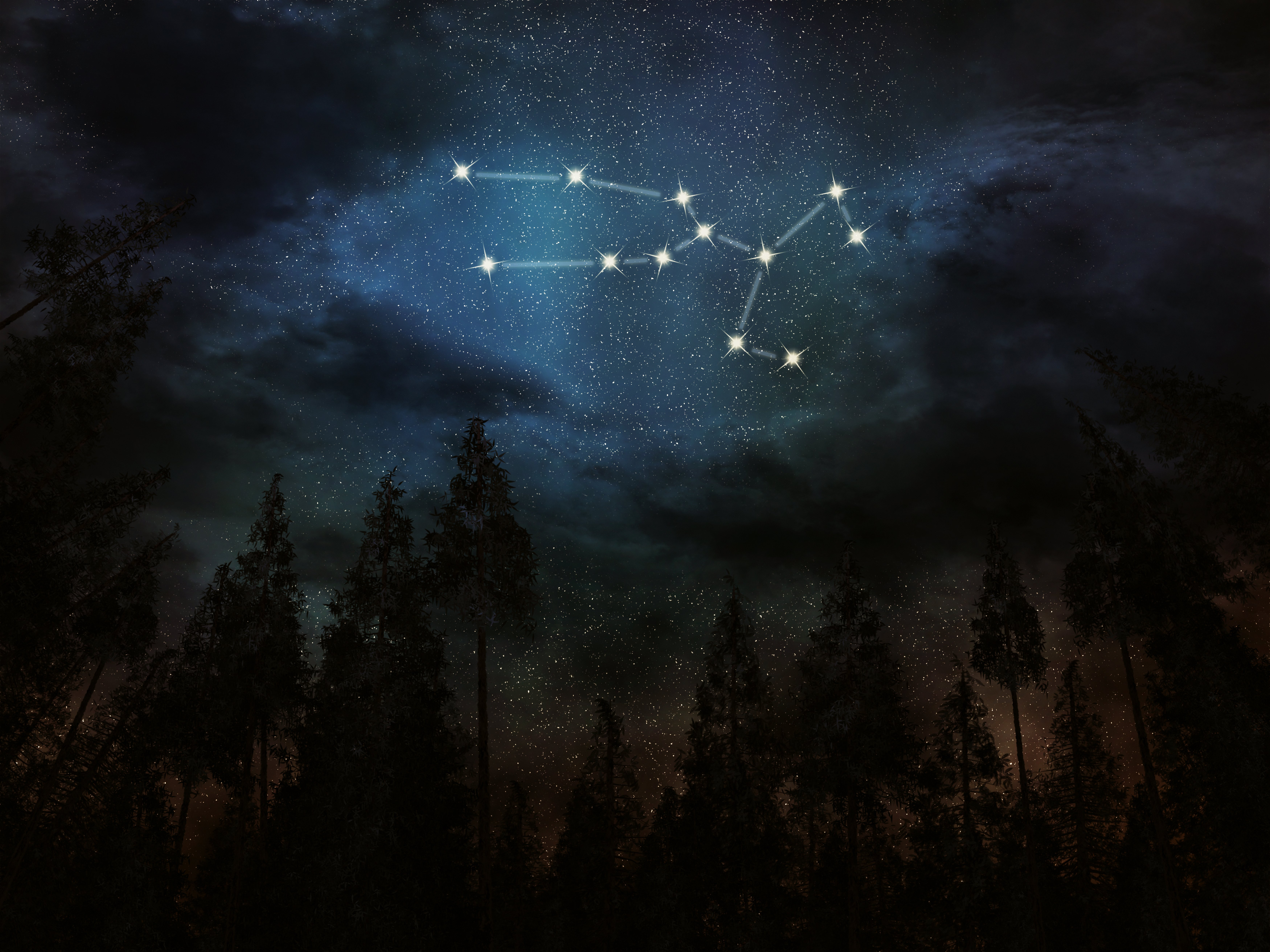 An illustration of the Taurus constellation in the night sky | Source: Shutterstock