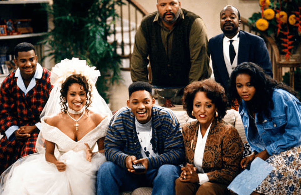 """Alfonso Ribeiro, Karyn Parsons, Will Smith, Daphne Reid, Joseph Marcell, Tatyana Ali and James Avery on an episode of the Fresh Prince of Bel-Air titled, """"Where There's a Will, There's a Way: Part 1 & 2"""" onAugust 31, 1993