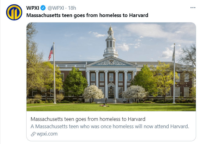 An image on June 14, 2021, of Harvard University in a story about Imani Fonfield's acceptance into the college | Photo: Twitter/@WPXI