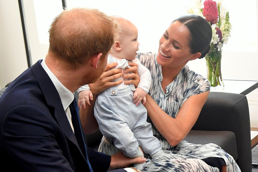 Prince Harry Meghan and their baby son Archie Mountbatten-Windsor meet Archbishop Desmond Tutu.   Source: Getty Images