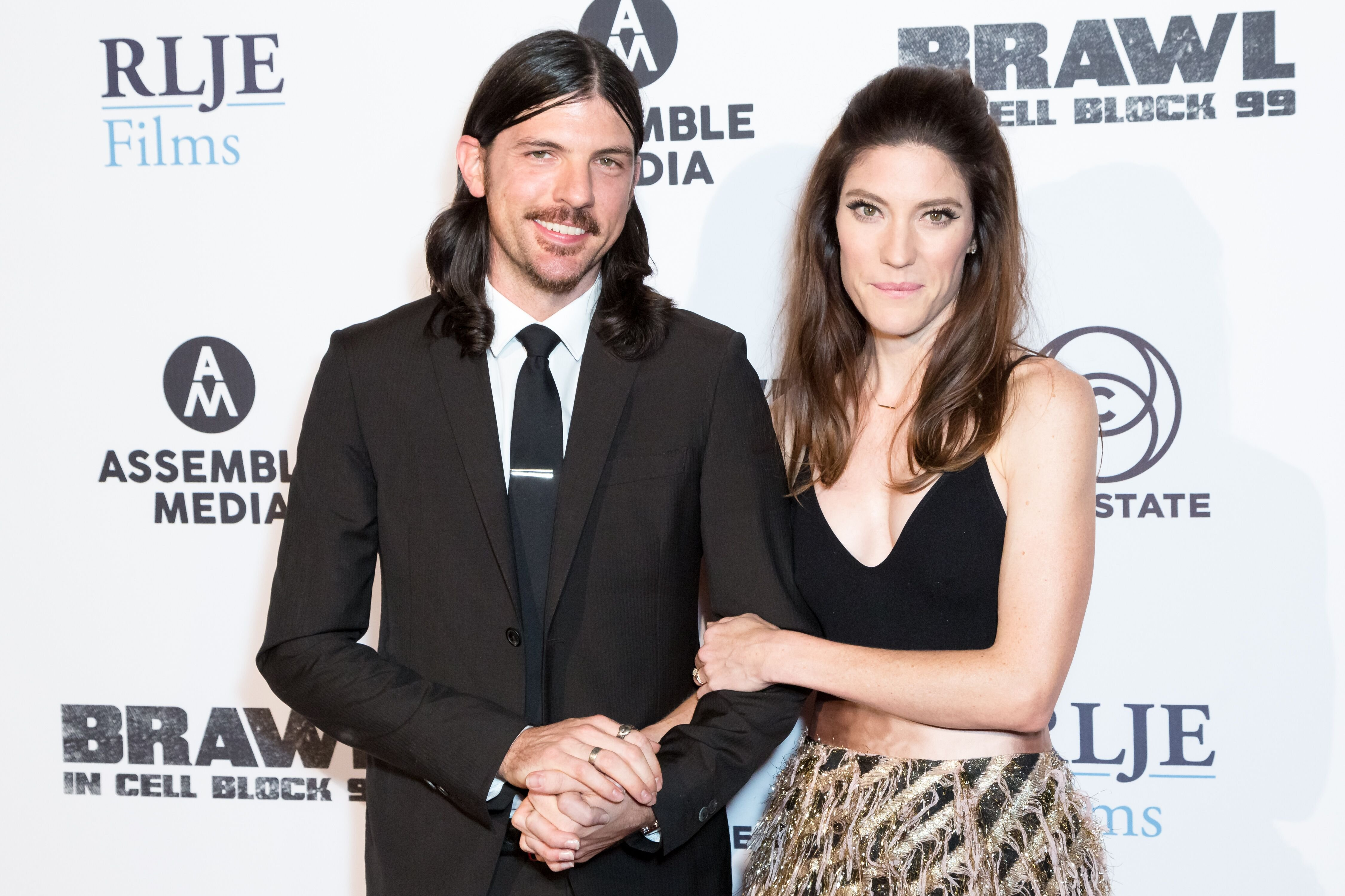 "Jennifer Carpenter and her husband Seth Avett arrive for the Premiere Of RLJE Films' ""Brawl In Cell Block 99"" at The Egyptian Theatre on September 29, 2017 in Los Angeles, California. 